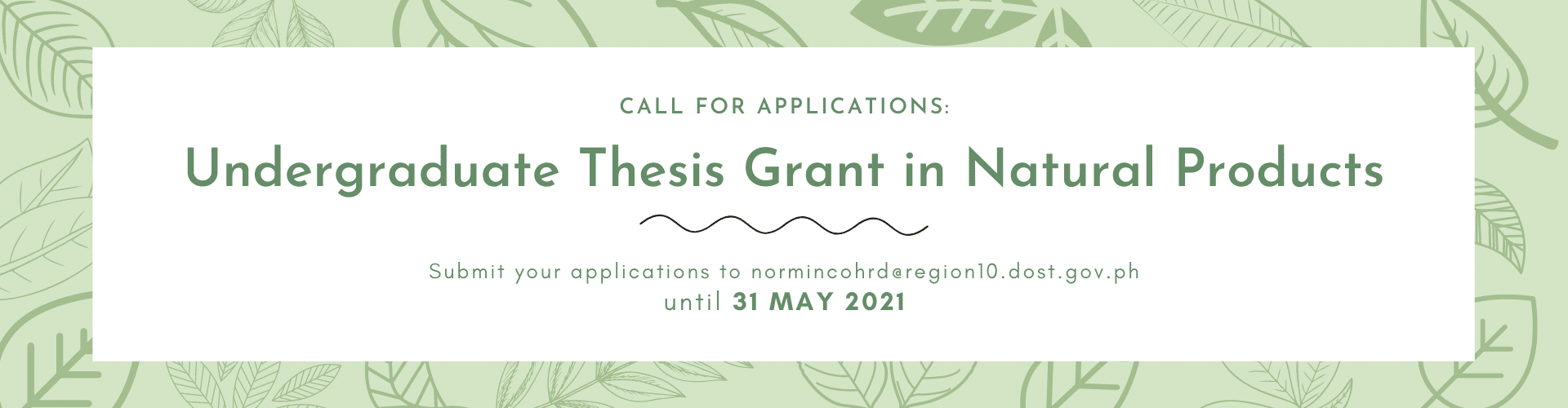 2021 undergraduate thesis grant in natural products